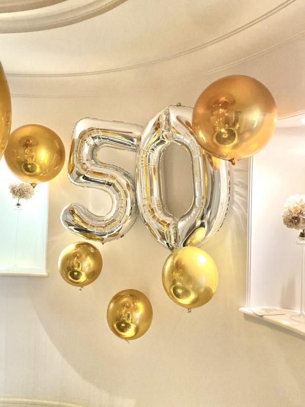 Balloonista Number And Orb Package Silver And Gold