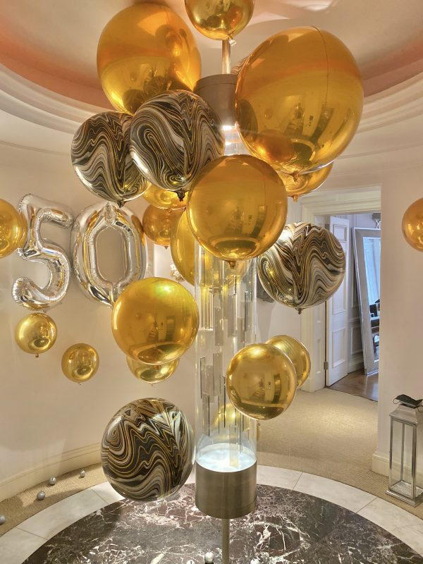 Balloonista Number And Orb Package Silver Number And Golad Orbz