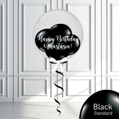 Balloonista Stuffed Clear Bubble Balloon Black
