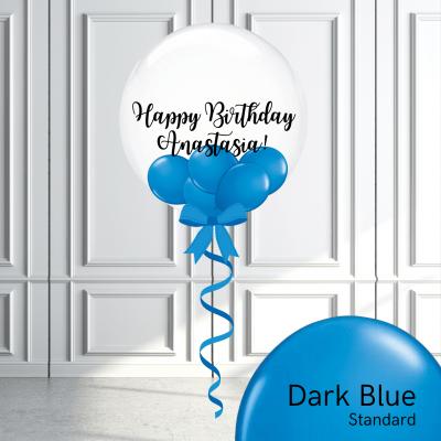 Balloonista Stuffed Clear Bubble Balloon Dark Blue
