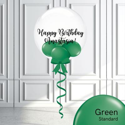 Balloonista Stuffed Clear Bubble Balloon Green