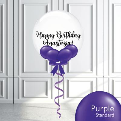 Balloonista Stuffed Clear Bubble Balloon Purple Violet