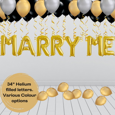 Balloonista Marry Me Proposal Balloon Package Gold Silver Black