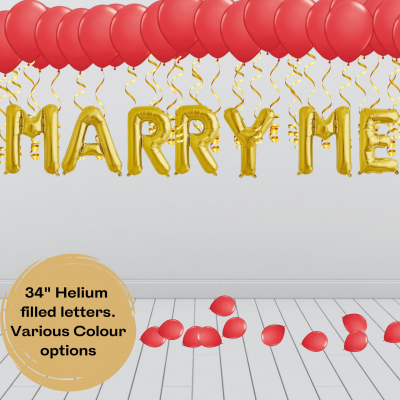 Balloonista Marry Me Proposal Balloon Package Red Gold