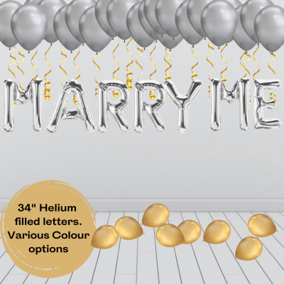 Balloonista Marry Me Proposal Balloon Package Silver Gold