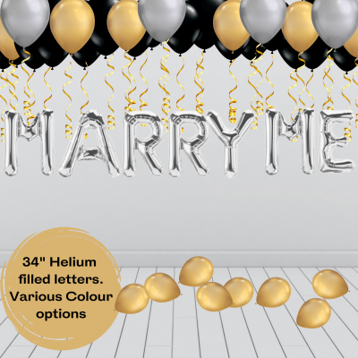 Balloonista Marry Me Proposal Balloon Package Silver Gold Black