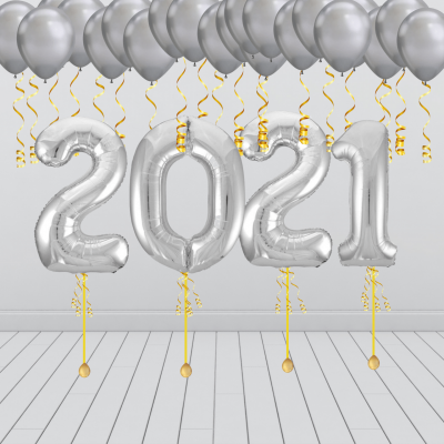 New Years Eve Balloon Decoration Package Balloonista 2021 Silver