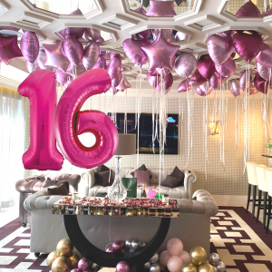 Balloonista Giant Pink Magenta Fushcia Numbers And Pink Foil Balloons