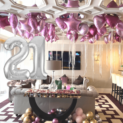 Balloonista Giant Silver Numbers And Pink Foil Balloons