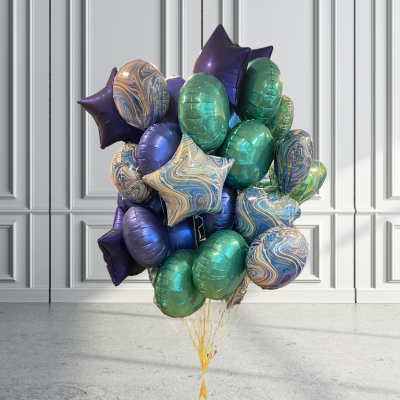 Balloonista Ten Shades Of Blue And Green Foil Balloons
