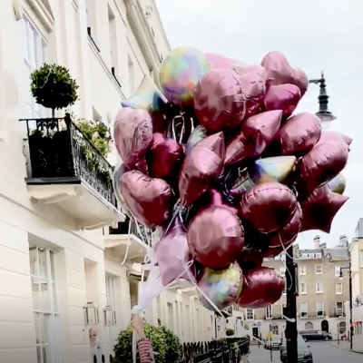 Balloonista 50 Shades Of Pink And Burgundy Foil Balloon Shape Bouquet