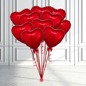 Balloonista Heart Balloon Bunch Microfoil Helium X 10