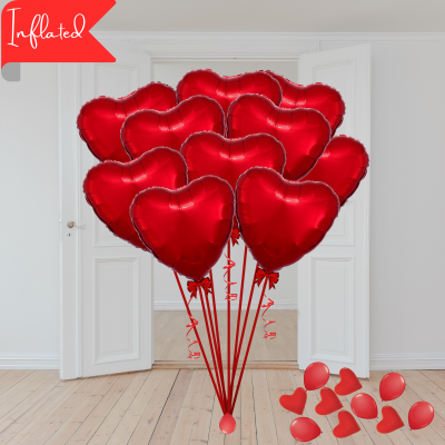 Balloonista Valentines 10 Red Foil Hearts