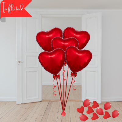 Balloonista Valentines 5 Red Foil Hearts