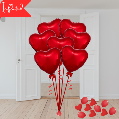 Balloonista Valentines 7 Red Foil Hearts