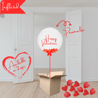 Balloonista Valentines Balloon Filled With Large Red Heart Confetti