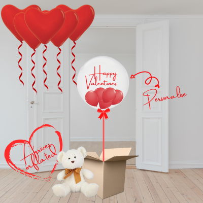 Balloonista Valentines Balloon Gift Package With Teddy