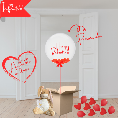 Balloonista Valentines Balloon Personalised Bubble With Large Heart Confetti