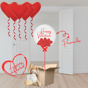 Balloonista Valentines Balloons Gift Package Ceiling Red Hearts, Bubble Filled With Mini Red Heart Balloons Plus I Love You Hare Toy Gift Ad On