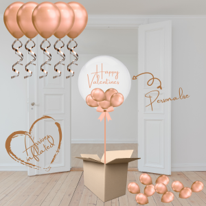 Balloonista Valentines Balloons Gift Package Personalised Chrome Copper Rose Gold Bubble Filled With Mini Balloons