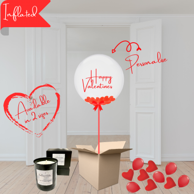 Balloonista Valentines Balloons Personalised Bubble Filled With Heart Confetti & Luxury Candle