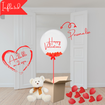 Balloonista Valentines Balloons Personalised Bubble Filled With Red Heart Confetti Plus Fluffy Toy Ad On