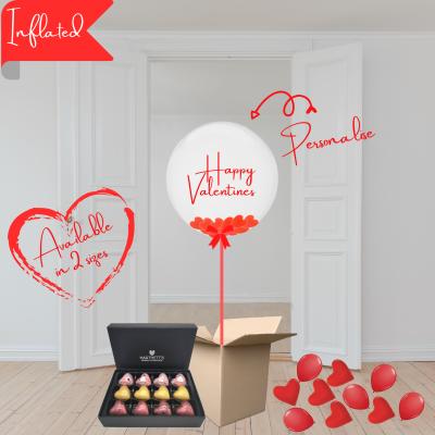Balloonista Valentines Balloons Personalised Bubble With Heart Confetti & Hartnetts Artisan Chocolates