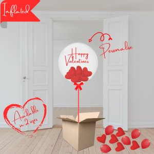 Balloonista Valentines Balloons Personalised Bubble With Hearts