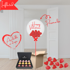Balloonista Valentines Balloons Personalised Bubble With Hearts & Hartnetts Chocolates