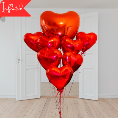 valentines red heart bouquet with 10 balloons