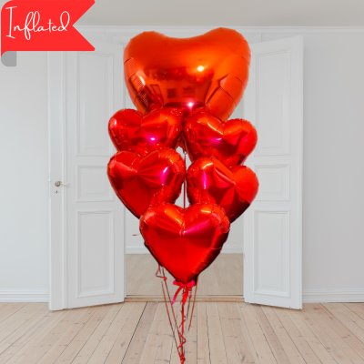 valentines red heart bouquet with six balloons