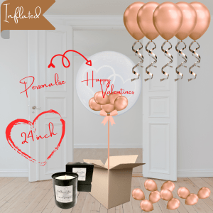 Balloonista Heart Bubble And Ceiling Rose Gold Package With Candle
