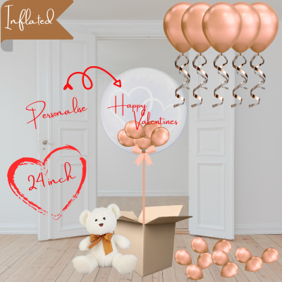 Balloonista Heart Bubble And Ceiling Rose Gold Package With Cuddly Toy Teddy Bear