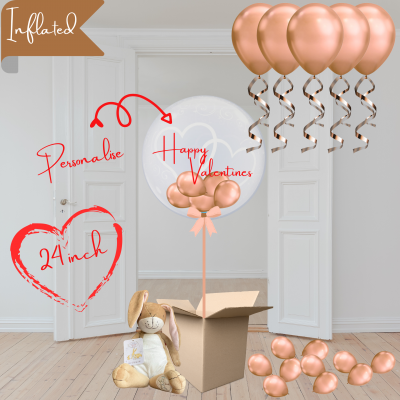 Balloonista Heart Bubble And Ceiling Rose Gold Package With I Love You Hare Bunny
