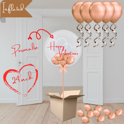 Balloonista Heart Bubble And Ceiling Rose Gold Package With Mini Rose Gold Balloons