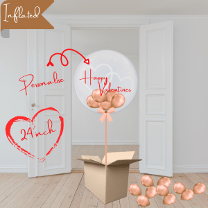 Balloonista Heart Bubble Rose Gold Balloon With Mini Balloons