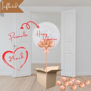 Balloonista Heart Bubble Rose Gold Balloon With Mini Balloons