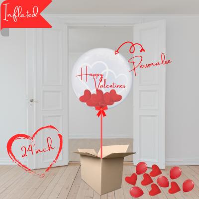 Balloonista Hearts Bubble Balloon Stuffed With Mini Hearts And Mini Balloons