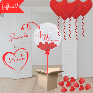 Balloonista Hearts Bubble Balloon Stuffed With Mini Hearts Packag