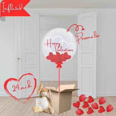 Balloonista Hearts Bubble Balloon Stuffed With Mini Hearts With Bunny I Love You Hare