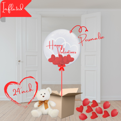 Balloonista Hearts Bubble Balloon Stuffed With Mini Hearts With Soft Cuddly Toy Teddy Bear