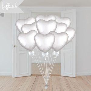 white heart funeral balloons