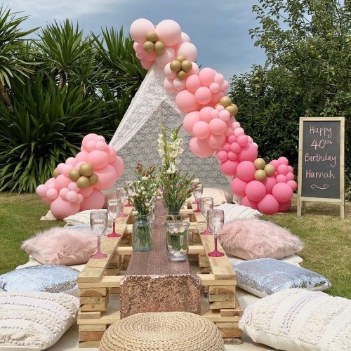 Balloonista Pink Ombre Balloon Garden Teepee Picnic Cussion Party Decor