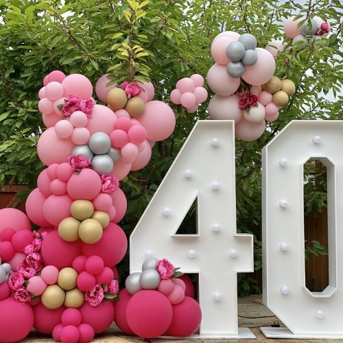 Balloonista Pink Ombre Balloon Light Up Number Garden Party Decor