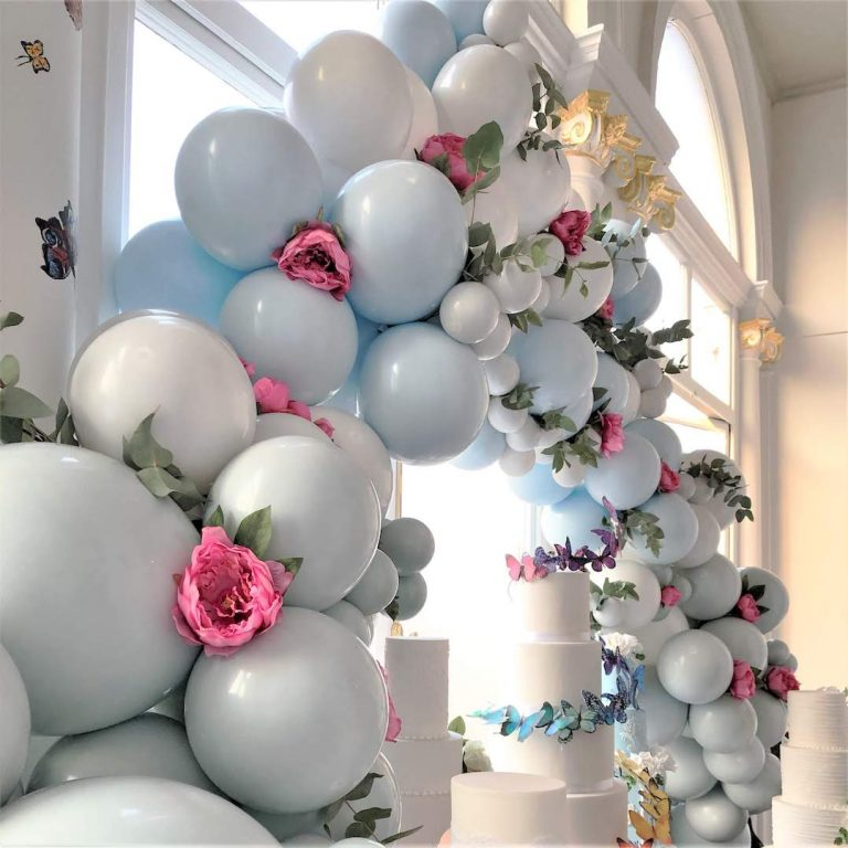 Blue Balloon and floral Garland