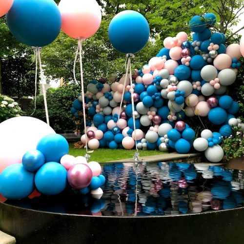 pink blue silver balloon wall